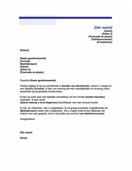 Begeleidend schrijven voor tijdelijke baan (motief met blauwe lijnen)