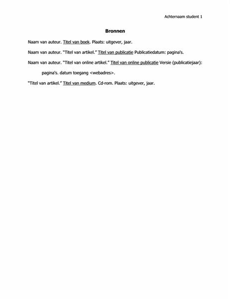 Bronnenlijst in MLA-indeling
