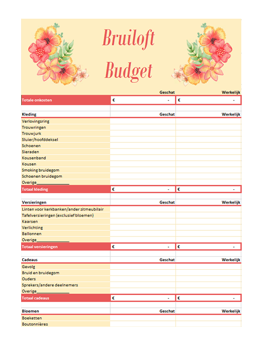 Planner voor trouwbudget