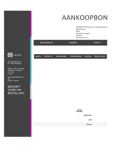 Aankoopbon (ontwerp Blauwe kleurovergang)