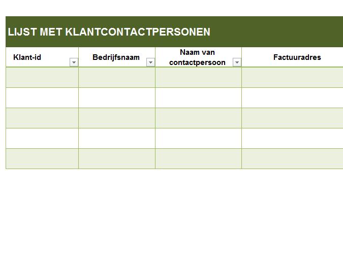 Standaardlijst met contactpersonen bij klant