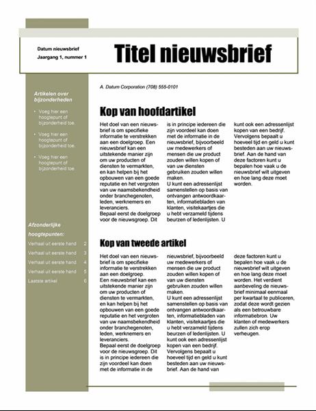 Nieuwsbrief (eenvoudig thema, 4 kolommen)