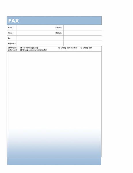Faxvoorblad (thema met blauwe kleurovergang)