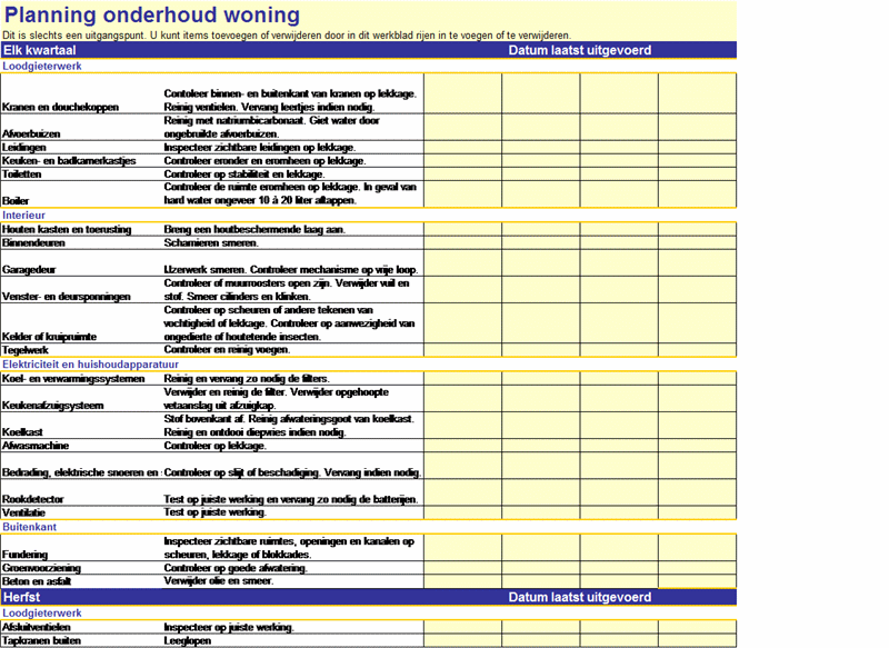 Planning onderhoud woning