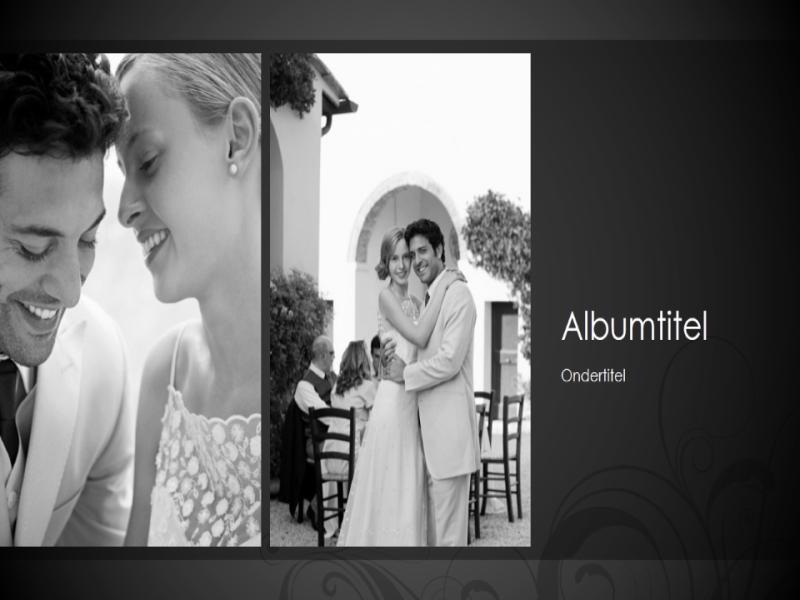 Bruiloftsfotoalbum, zwart-wit barokontwerp (breedbeeld)
