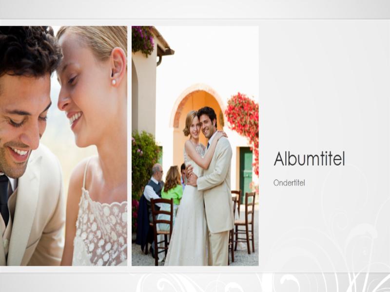 Bruiloftsfotoalbum, zilveren barokontwerp (breedbeeld)