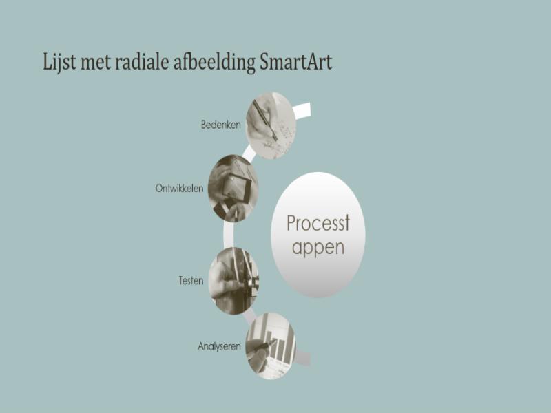 Proces met SmartArt en lijst met radiaalafbeeldingen (breedbeeld)