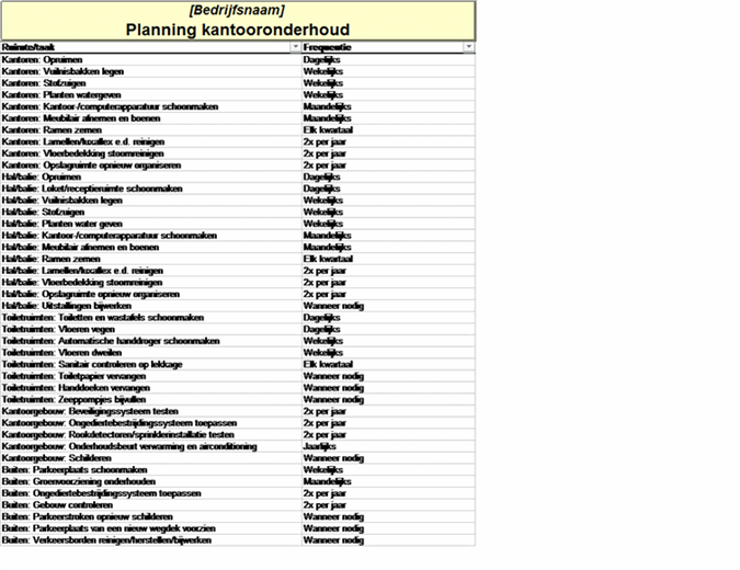 Planning kantooronderhoud