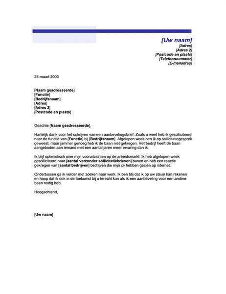 Bedankbriefje voor referentie (motief met blauwe lijnen)