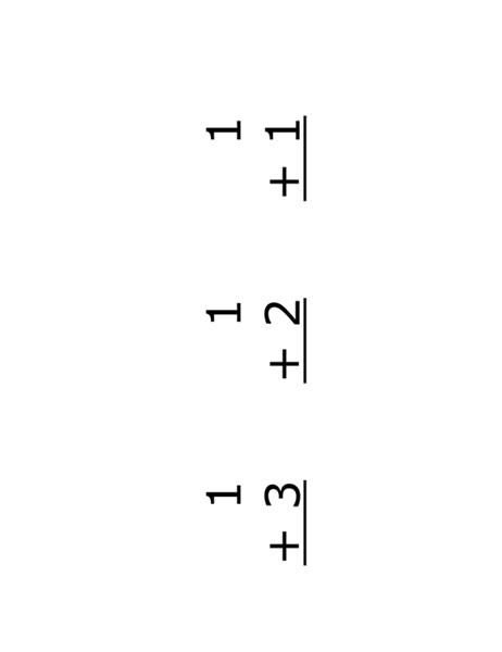 Leskaarten voor optellen (voorzijde: vergelijkingen; geschikt voor Avery 5388)