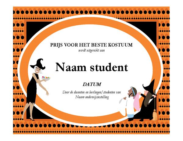 Prijs voor het beste halloweenkostuum