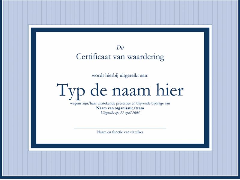 Certificaat van waardering voor administratief medewerker