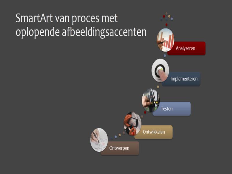 SmartArt met oplopende afbeeldingsaccenten voor proces (verschillende kleuren op een grijze achtergrond), breedbeeld