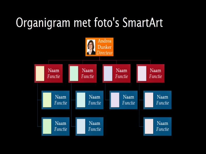 Dia met organigram met afbeeldingen (meerkleurig op zwart), breedbeeld