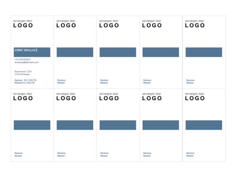 Visitekaartjes, verticale indeling met logo, tekst links uitgelijnd