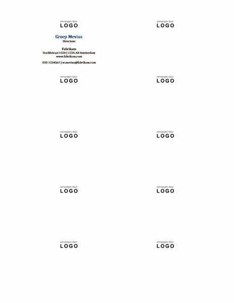 Visitekaartjes, horizontale indeling met logo, naam met beginkapitalen