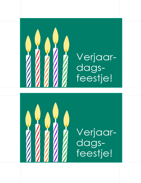 Uitnodigingen voor verjaardag (2 per pagina)