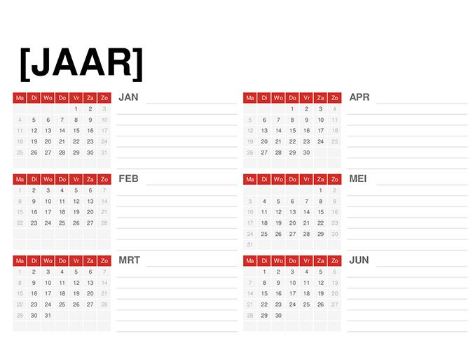 Kalender voor willekeurig jaar