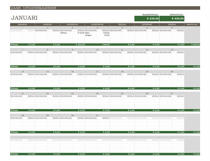 Uitgavenkalender voor ieder jaar