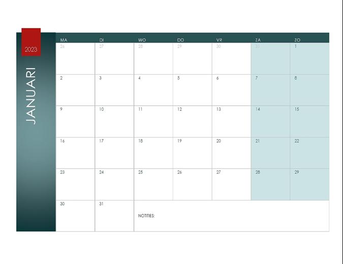 Kalender voor willekeurig jaar (thema Ion)