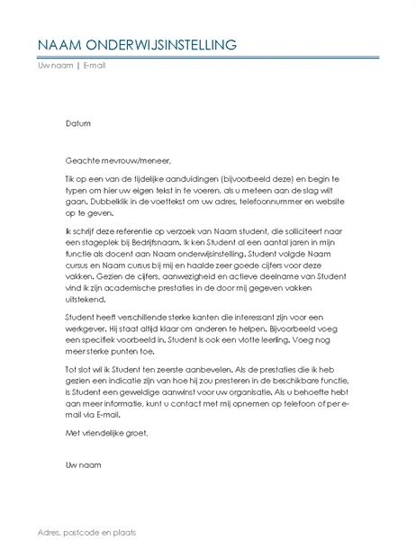 Referentiebrief van docent