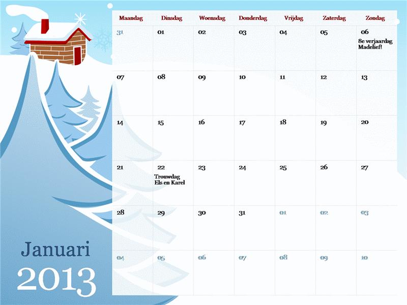 Geïllustreerde seizoenskalender voor 2013, ma-zo