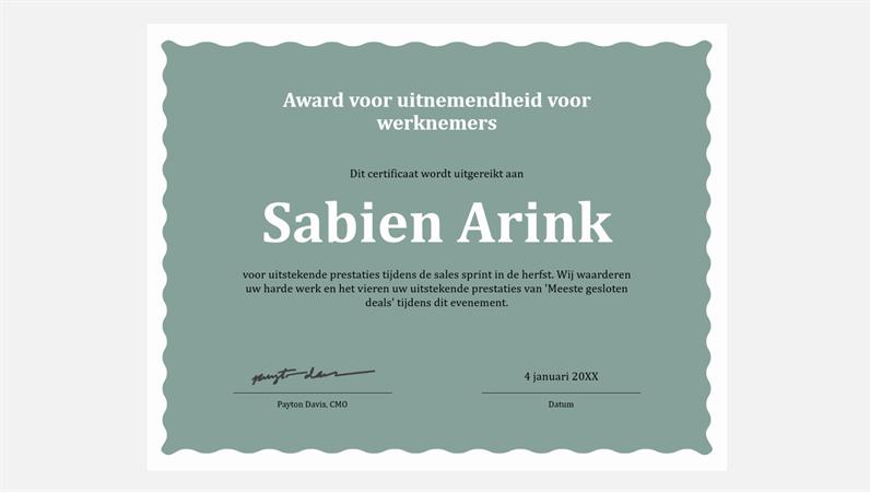 Certificaat van uitnemendheid voor werknemer