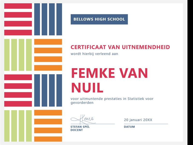 Certificaat van uitnemendheid voor leerling/student