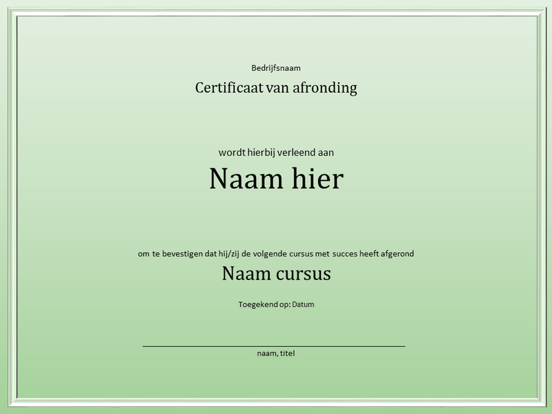 Certificaat voor afronding cursus
