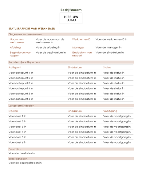 Statusrapport van werknemer