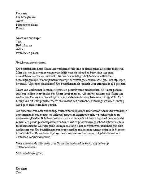 Referentiebrief voor professionele werknemer