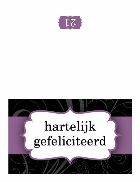Verjaardagskaart (ontwerp met paars lint)
