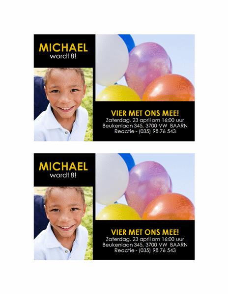 Uitnodiging voor een feest (geel op zwart, ontwerp met twee foto's)