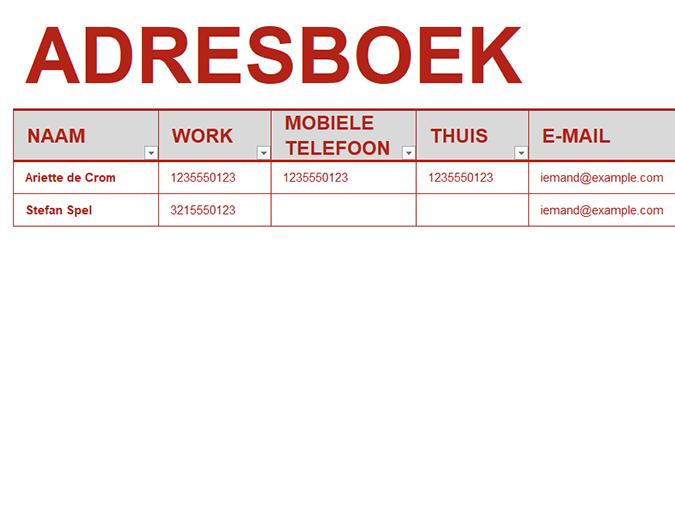Persoonlijk adresboek