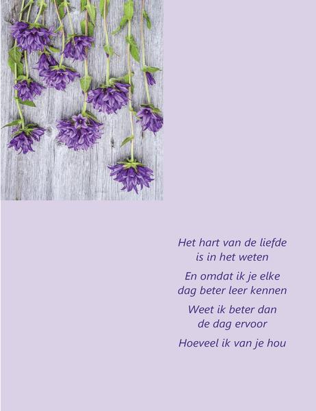 Valentijnskaart met poëzie (in vieren gevouwen)