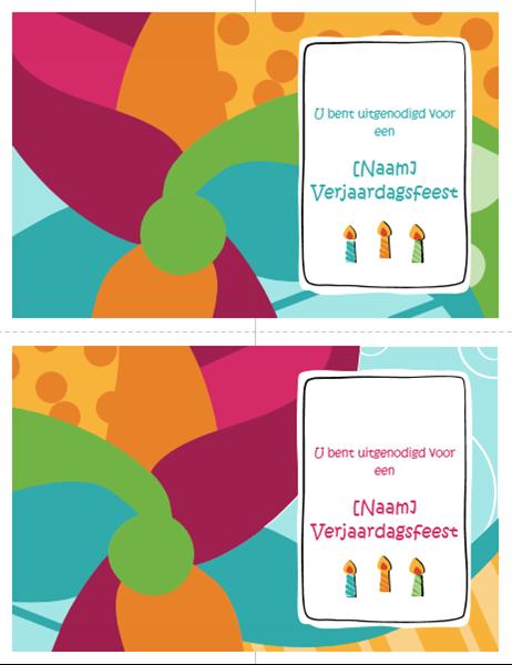 Uitnodigingen voor verjaardagsfeest (twee per pagina, helder ontwerp)