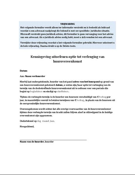Kennisgeving van huurder over uitoefenen optie tot verlenging van huurovereenkomst