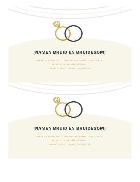Bruiloftuitnodigingen (decoratief ontwerp, 2 per pagina)