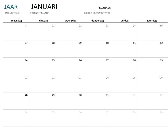 Kalender van willekeurig jaar met maandweergave