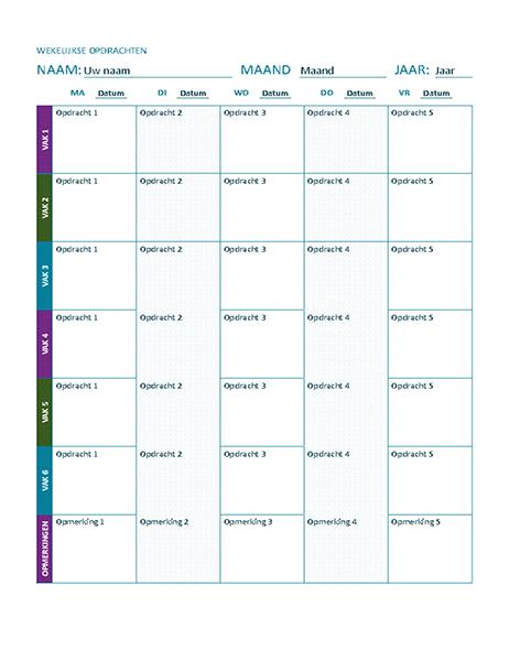 Wekelijkse huiswerkplanning (kleur)