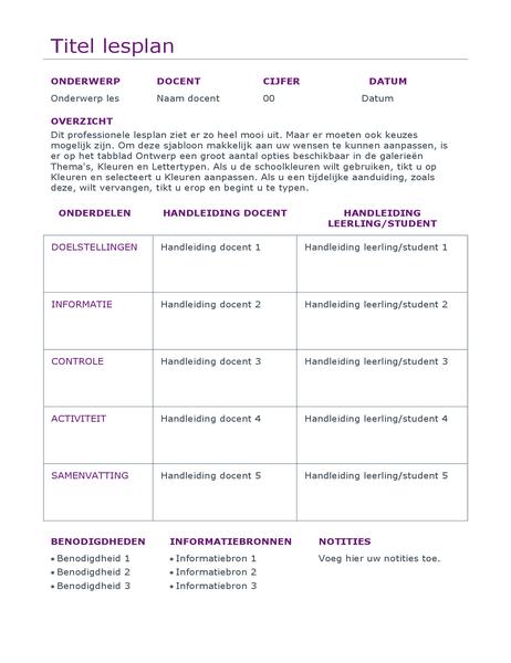 Planner voor dagelijkse lessen (kleur)