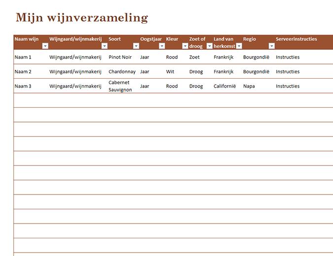 Lijst met wijnverzameling