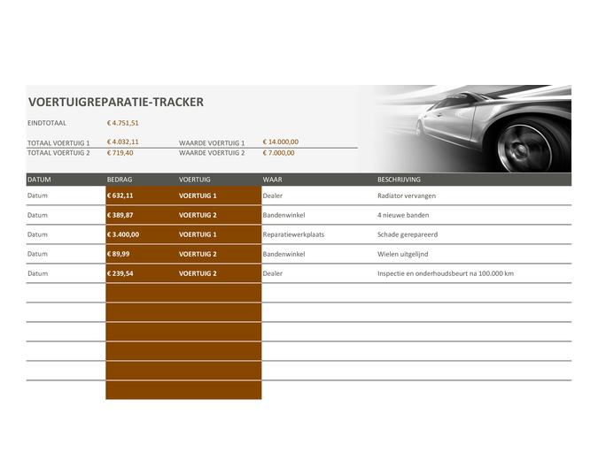 Autoreparatie-tracker