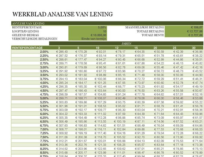 Werkblad analyse van lening