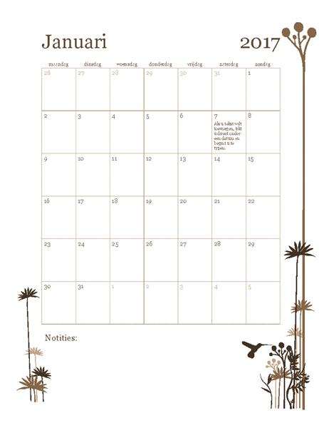 Fotokalender 2017 (maandag-zondag)