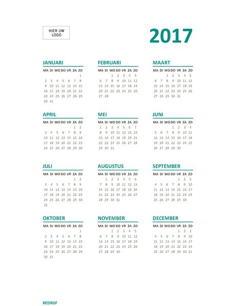 Jaar-in-een-oogopslagkalender voor 2017 (ma-zo)