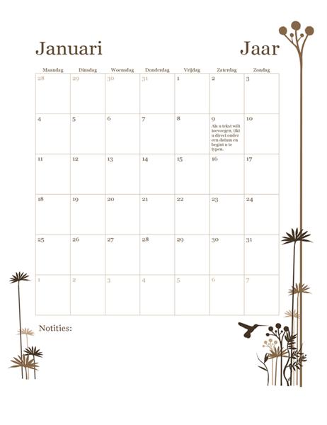 Kalender van 12 maanden (ma-zo) met kolibrie