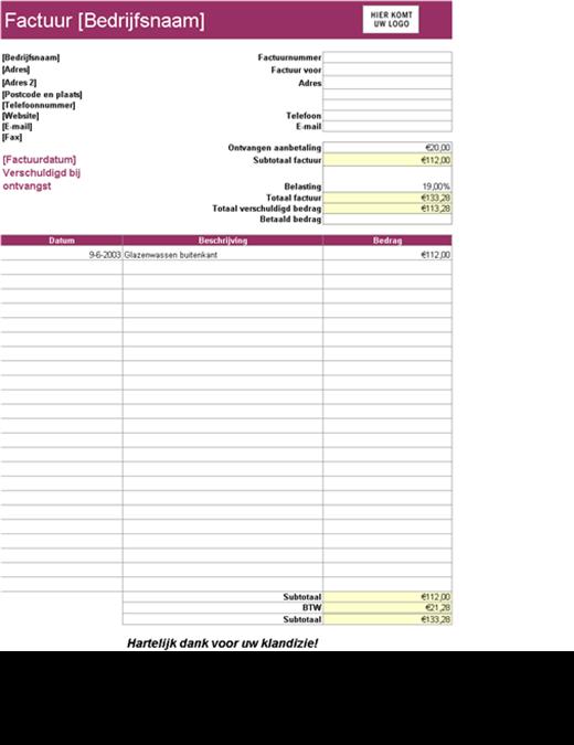 Servicefactuur met aftrek van aanbetaling