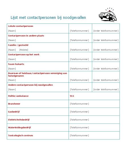 Lijst met contactpersonen bij noodgevallen
