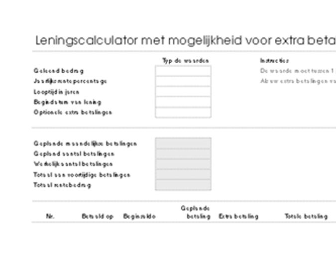 Leningscalculator met mogelijkheid voor extra betalingen